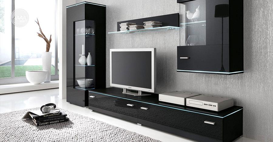 Czarne meble do salonu - zestaw Luxus