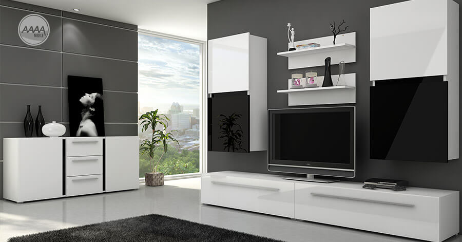 Czarno-białę meble do salonu