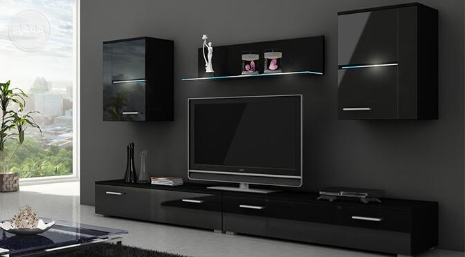 Czarne meble w salonie z delikatnym oświetleniem LED