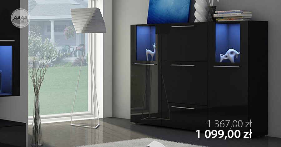 Czarna komoda z oświetleniem, cena promocyjna 1099 zł