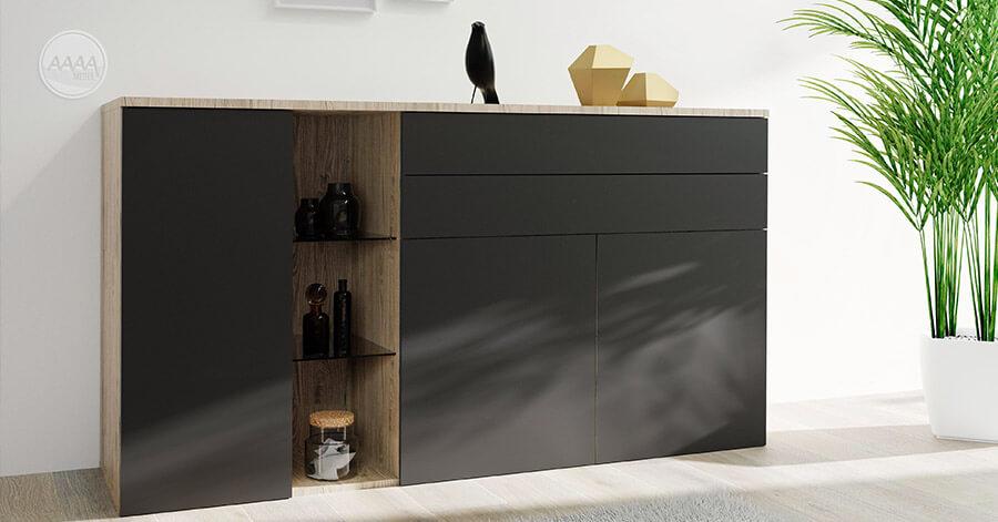 Czarna komoda mat, z dodatkiem koloru drewna, aranżacja salonu