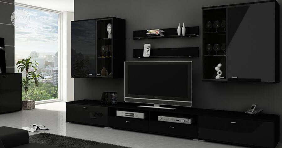 Czarne meble z połyskiem w salonie, szafki RTV, wiszące witryny i półki
