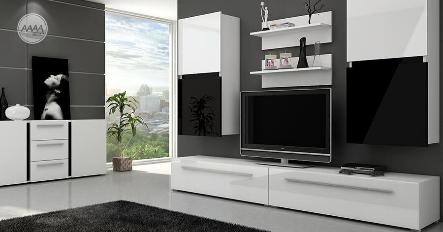 Czarno-białe meble pokojowe